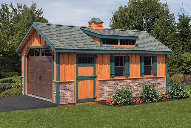 12'x20' Board & Batten with Optional Stone Front, Shed Dormer, and Cupola