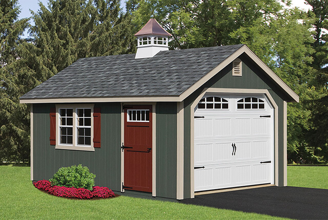 12'x20' Classic Garage with Copper Top Cupola