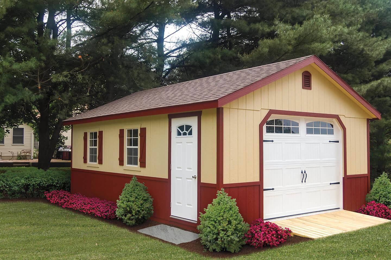 pre built custom garages cedar craft storage solutions 16 x24 garage with 5 12 roof pitch