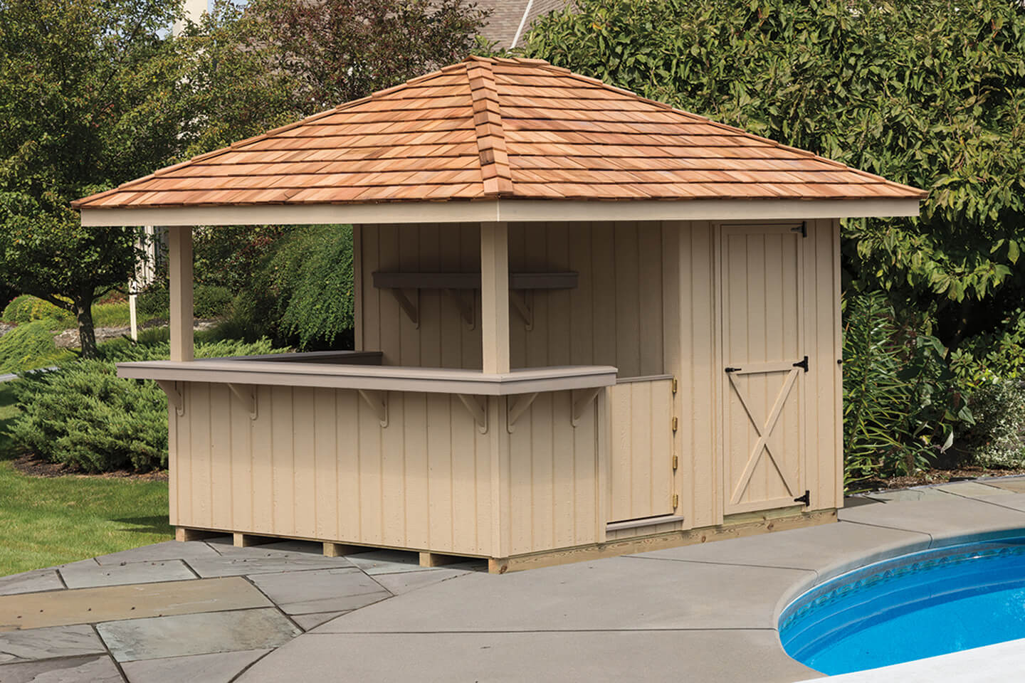 Cabanas & Outdoor Bars | Cedar Craft Storage Solutions on Backyard Bar With Roof id=59772