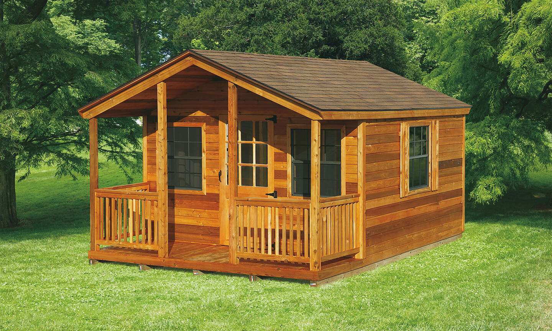 12u0027x16u0027 Elite Cabin With 4u0027x12u0027 Porch And 9 Lite Wood