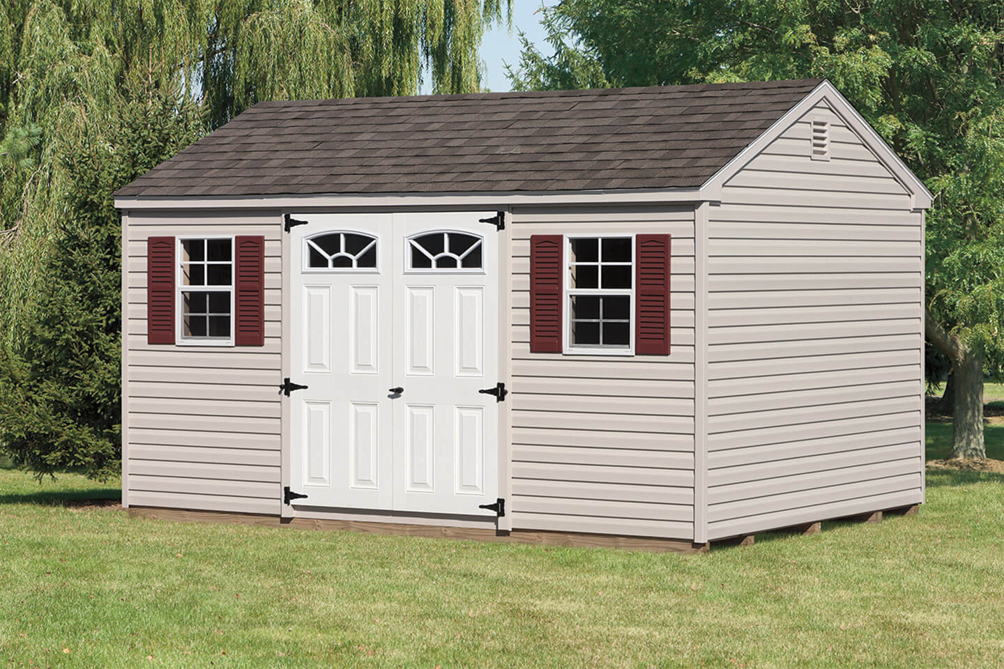 Vinyl a frame storage sheds cedar craft storage solutions for Vinyl storage sheds