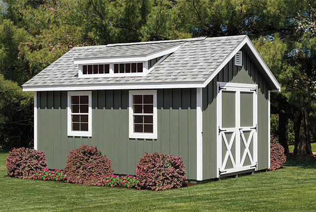 12'x16' Classic Painted Board & Batten with Optional Dormer