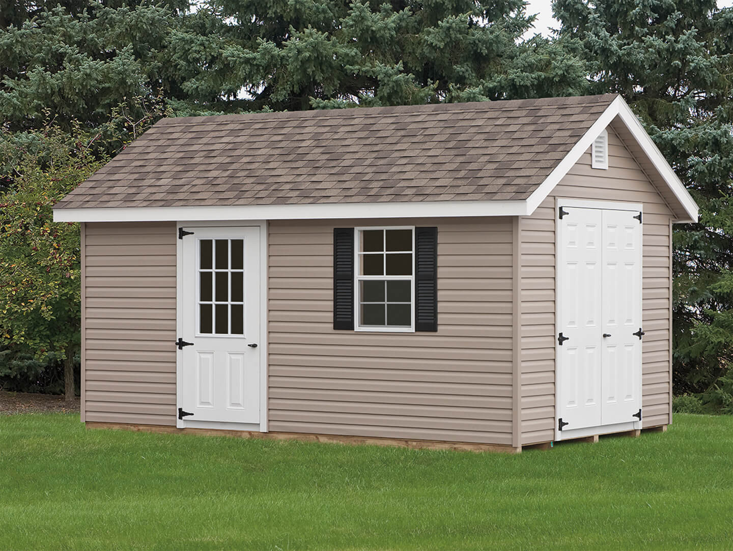 lehigh in outdoor amish valley provincial signature acres custom green the garages sheds vinyl
