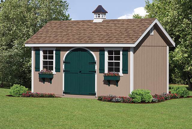 12'x20' Classic with Double Round Top Door and Copper Top Cupola