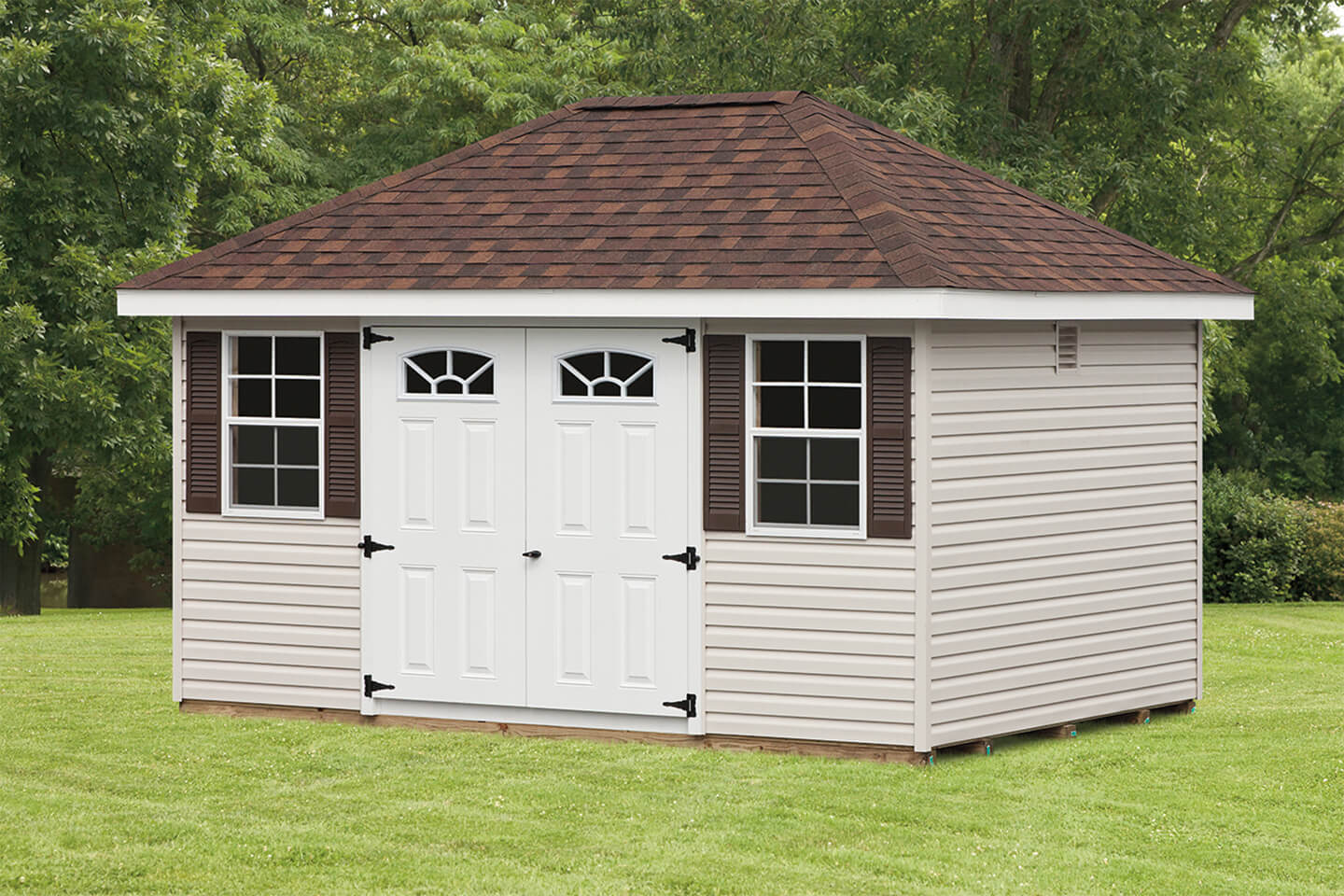 Mini barn hip roof sheds cedar craft storage solutions for Barn storage shed