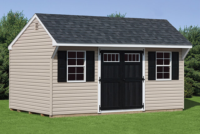 10'x14' Quaker with Black Wood Transom Windows